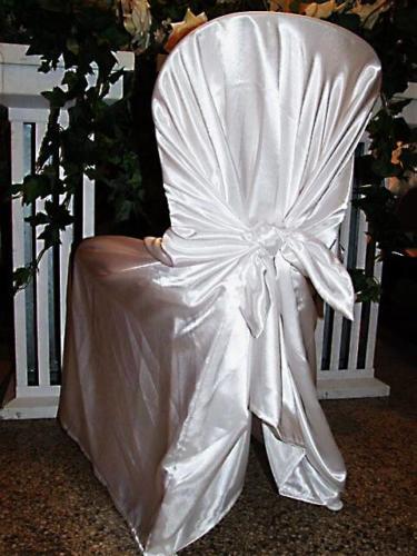Návleky na stoličky saténové biele