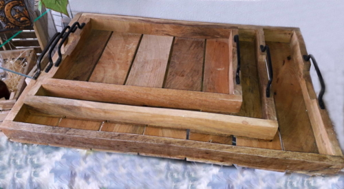 Tácky drevené set 3 ks